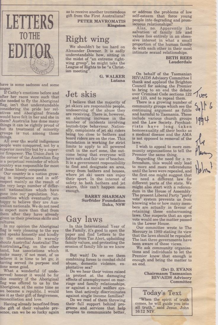 Gay laws Tas 1994